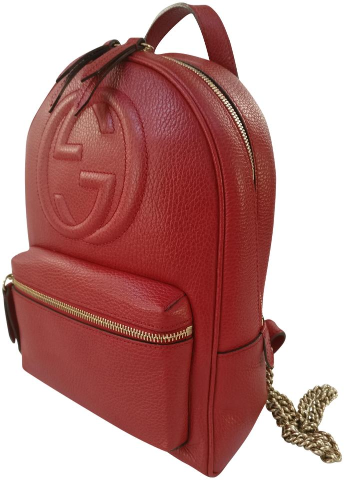 sneakers elegant shape amazing quality Gucci Soho Chain Red Leather Backpack 37% off retail