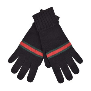 Gucci Gucci Men's Black Wool With Green Red Web Stripe 294732