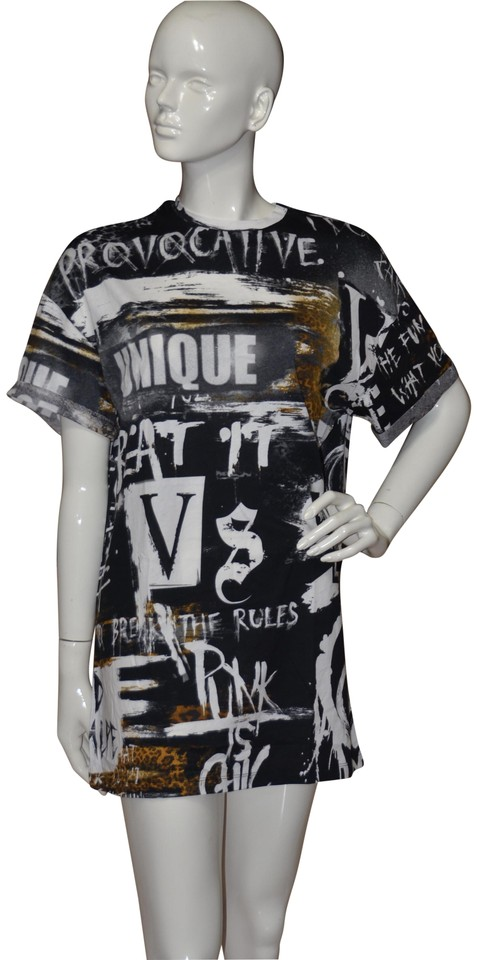 05b263c8 Victoria's Secret Multi-color Graffiti Balmain Oversized Graphic Tee ...