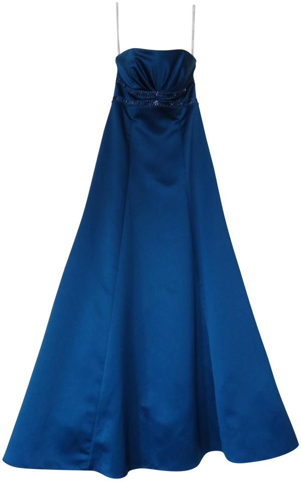 Davids Bridal Blue Satin Ball Gown Mother Of The Bride Long