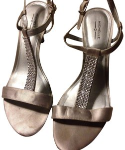 Michelle D Shiny Pewter Tan Formal