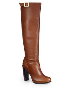 Rachel Zoe Pebbled Leather Gold Hardware Brushed Stacked Heel Brown Boots