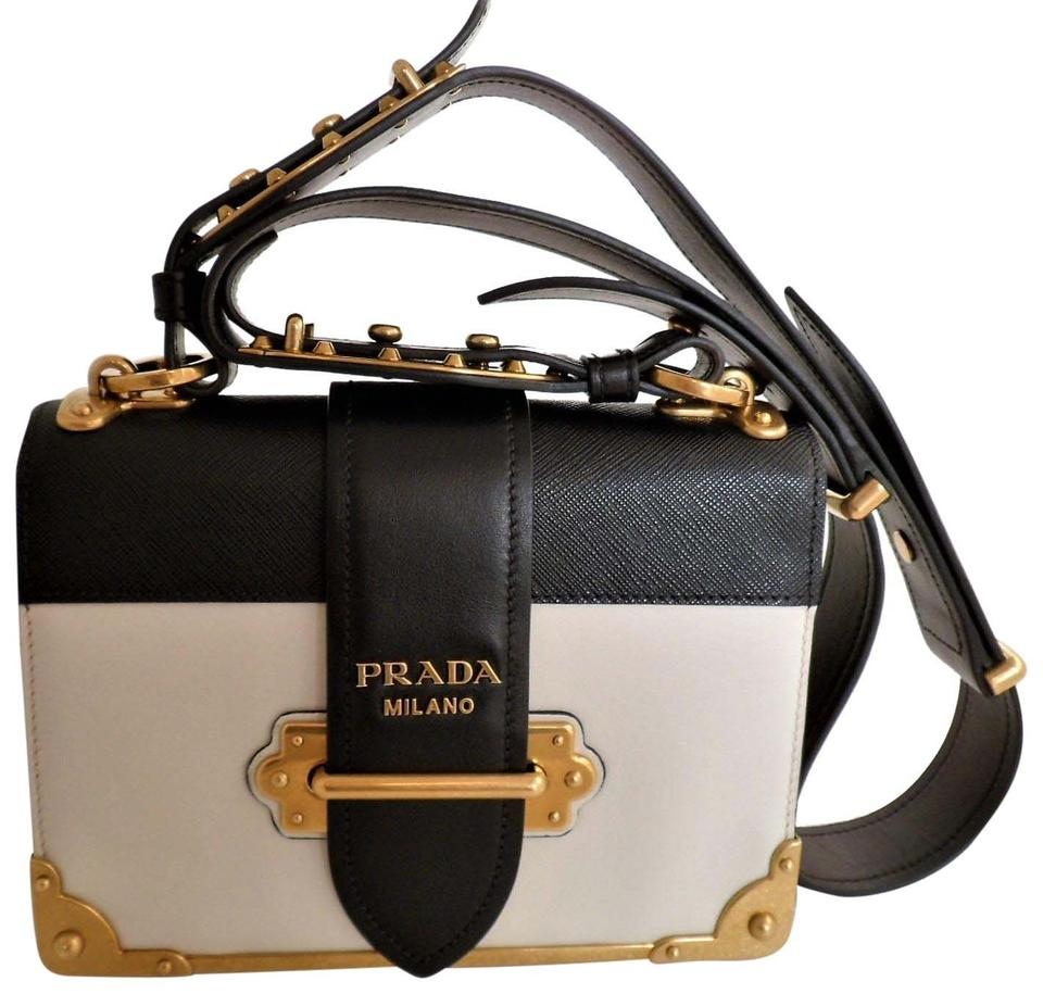 8c95ed86ca57 Prada Cahier Notebook 2016 Runway Shoulder Black   White Leather ...