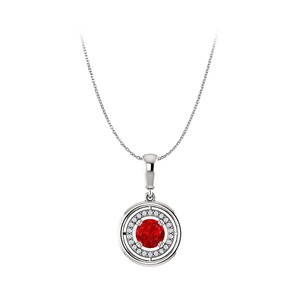 Marco B Shine in Red and White with Ruby CZ Circle Halo Pendant