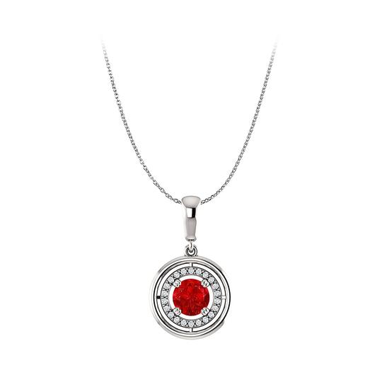 Preload https://img-static.tradesy.com/item/22530538/red-silver-shine-in-and-white-with-ruby-cz-circle-halo-pendant-necklace-0-0-540-540.jpg