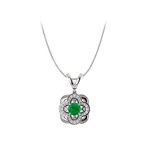 Marco B Emerald and Cubic Zirconia Accented Artistic Pendant