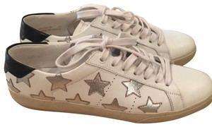 Saint Laurent Leather white with silver stars Athletic