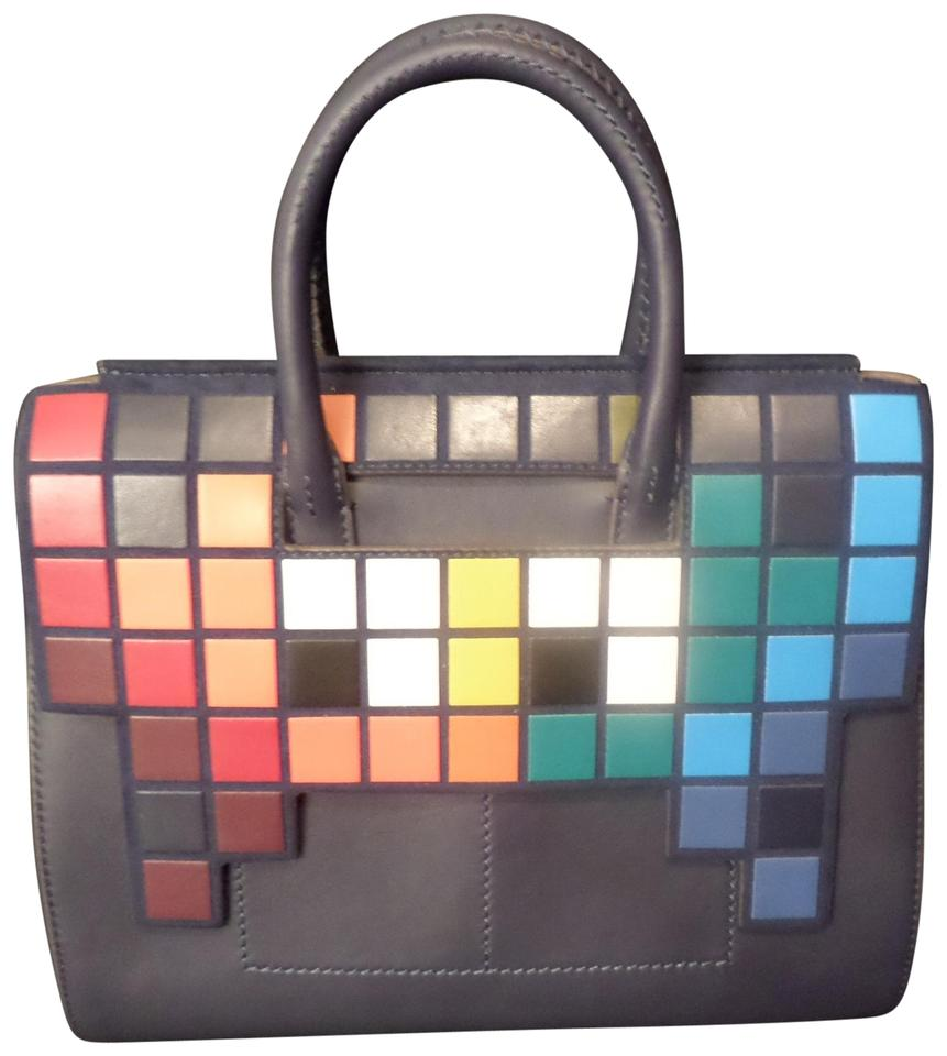 Anya Hindmarch Pixel New Leather Tote In Black And Multi