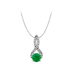 Marco B Round Emerald CZ Infinity Style Pendant in 925 Silver