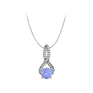 Marco B Tanzanite and CZ Infinity Style Pendant in 925 Silver