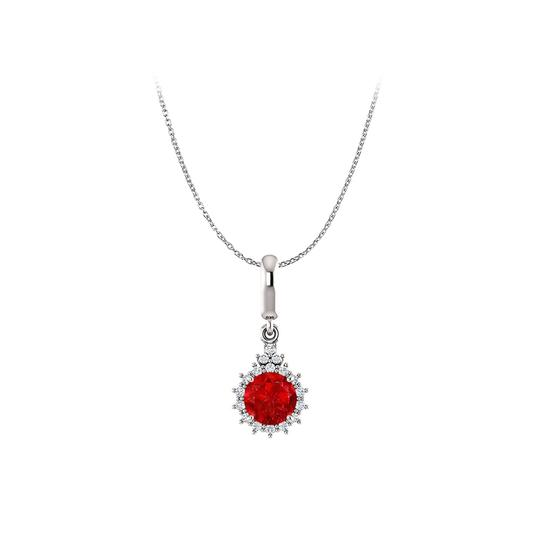 Preload https://img-static.tradesy.com/item/22531077/red-silver-brilliant-cut-ruby-and-cz-round-halo-pendant-925-necklace-0-0-540-540.jpg