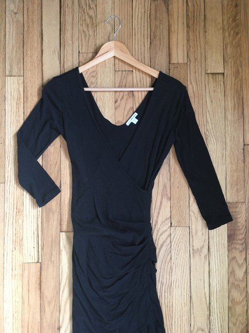 James Perse short dress Black Wrap V-neck Ruched Knit Cotton on Tradesy Image 1