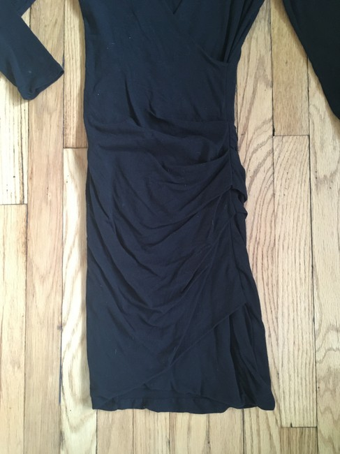 James Perse short dress Black Wrap V-neck Ruched Knit Cotton on Tradesy Image 2