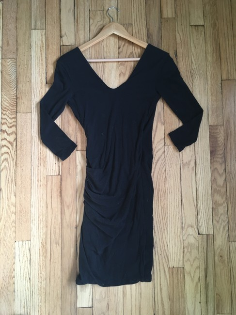 James Perse short dress Black Wrap V-neck Ruched Knit Cotton on Tradesy Image 3
