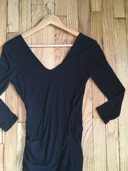 James Perse short dress Black Wrap V-neck Ruched Knit Cotton on Tradesy Image 4