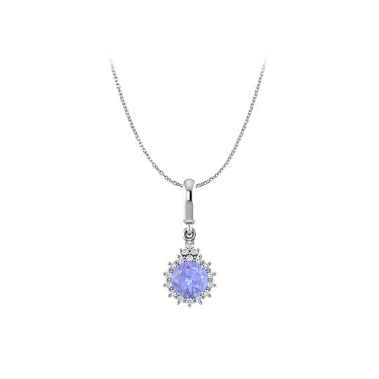 Preload https://img-static.tradesy.com/item/22531115/blue-silver-elegant-tanzanite-and-cz-round-halo-pendant-925-necklace-0-0-540-540.jpg