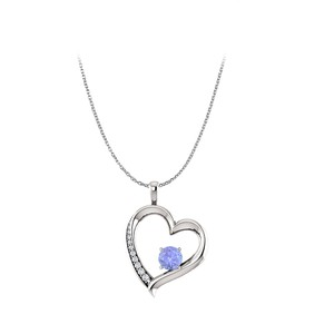Marco B Tanzanite and Cubic Zirconia Open Heart Pendant Silver