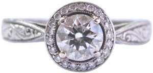 custom Palladium Round Cut Diamond Halo Milgrain Engagement Ring GIA .75Ct F-