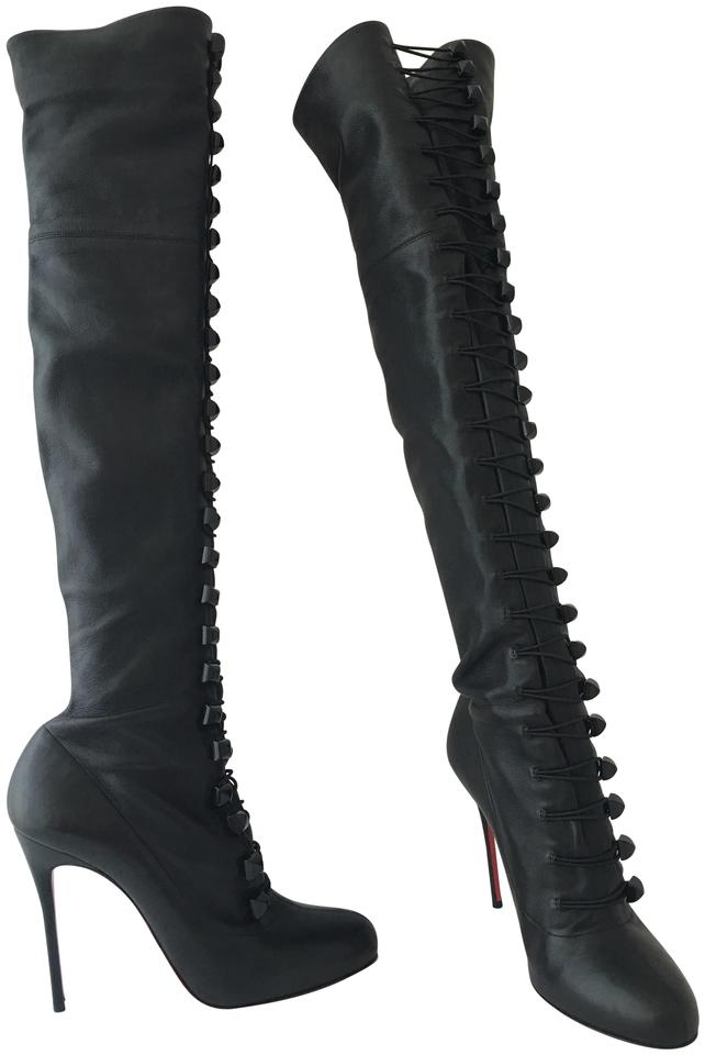 detailed look e5634 2ca5d Christian Louboutin Black 41it Ronfifi Supra Thigh High Over Knee Heel Lady  Red Sole Toe Leather Boots/Booties Size EU 41 (Approx. US 11) Regular (M,  ...