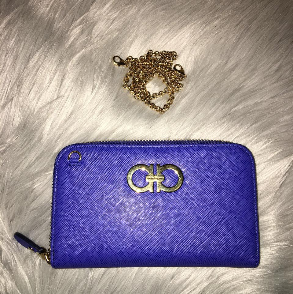 On Shoulder Ferragamo Chain Leather Bag Salvatore Wallet Double Gancio Continental anpRU6