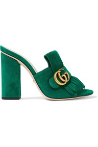 Gucci Marmont Sandals Size 37.65 Cc Green Mules