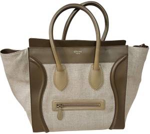 Céline Leather Canvas Tote in Taupe