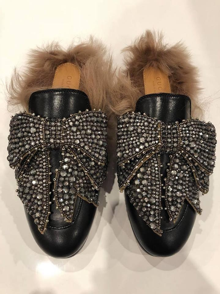 89e1bb8b8fd Gucci Princetown Fur Loafer Crystal black Flats Image 11. 123456789101112