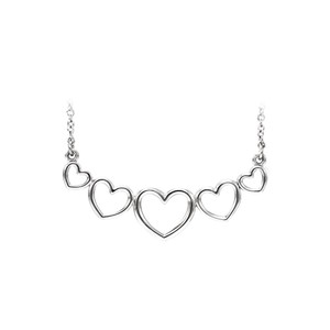 Marco B 14K White Gold Graduated Heart Necklace For Valentine