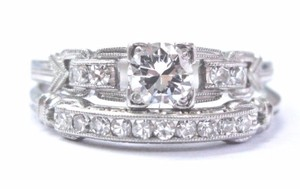 custom Vintage Platinum Round Cut Diamond Engagement Wedding Set .53Ct
