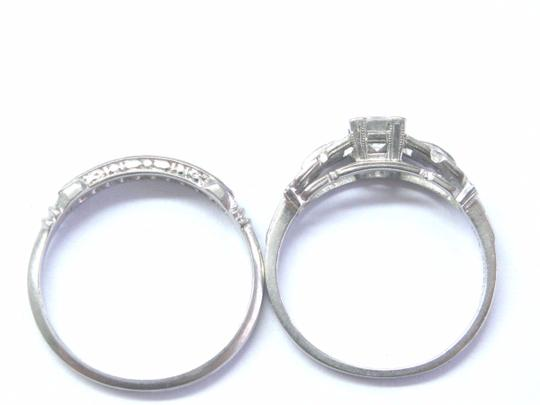 custom Vintage Platinum Round Cut Diamond Engagement Wedding Set .53Ct Image 3