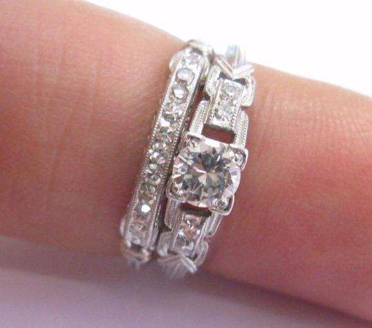 custom Vintage Platinum Round Cut Diamond Engagement Wedding Set .53Ct Image 5