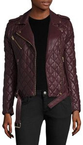 IRO Quilted Motorcycle Leather Burgundy Jacket