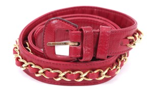 Chanel CHANEL Belt Leather Lambskin Red Thin Gold Chain Buckle 75 Vintage