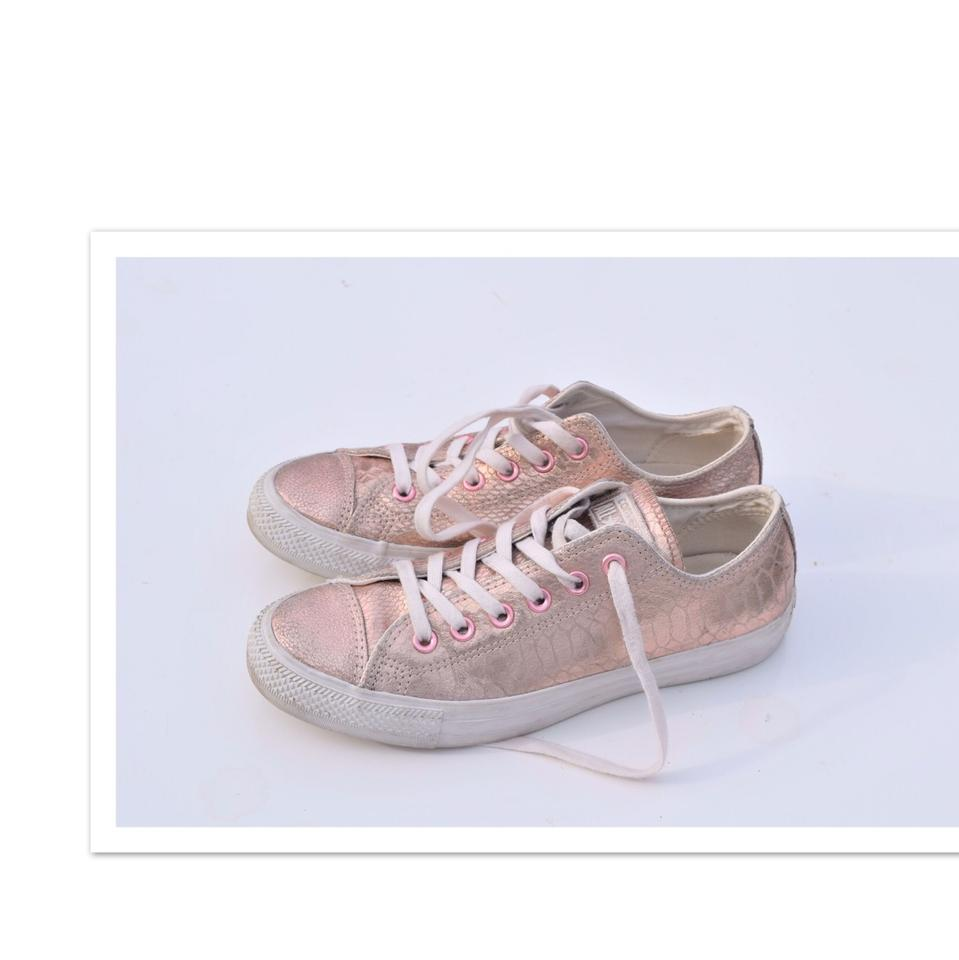 Converse Pale Pink Leather Embossed Sneakers Size US 8 Regular (M 17846ba42941