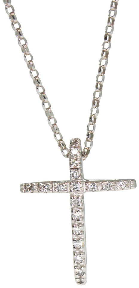 White gold diamond cross pendant with 14 k fancy chain ladies other diamond cross pendant with 14 k white gold fancy chain ladies necklace aloadofball Images