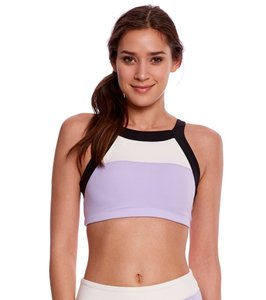Kate Spade & Beyond Yoga Beyond Yoga Kate Spade Blocked Band Racer Bra, Purple, White, Black, S