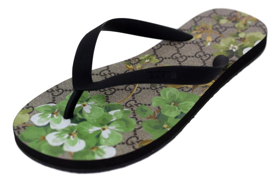 bb52095a9 Gucci Black Green 283029 Men s Supreme Gg Canvas Bloom Print Flower Sandal  Shoes Image 0 ...