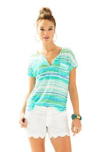 Lilly Pulitzer Striped T Shirt Blue, Green, White