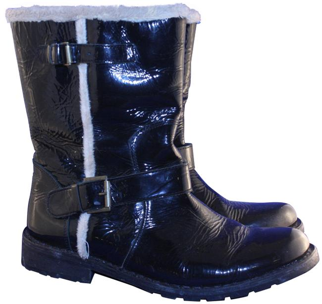 Item - Black Patent Leather Mid Calf Pull On Boots/Booties Size EU 39 (Approx. US 9) Regular (M, B)