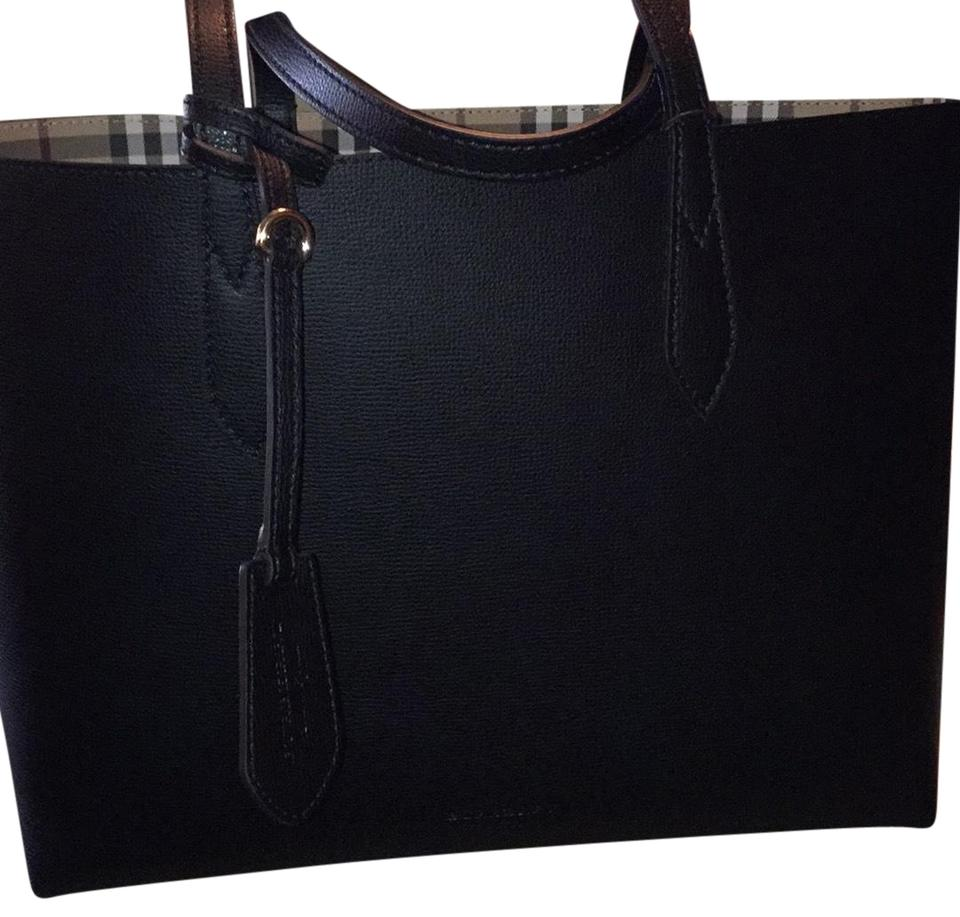 73b7dc40c8b8 Burberry Reversible Haymarket And Black Multi Leather Tote - Tradesy