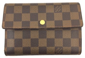 Louis Vuitton #15560 *with Insert* Damier Ebene Large trifold Wallet organizer XL