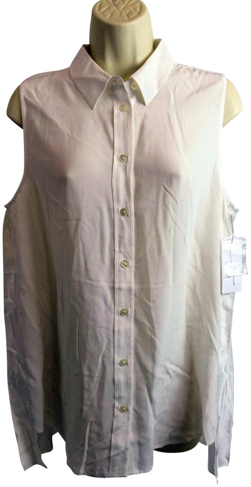 5969552b159684 Equipment White Femme Women s Shirt Pleated Sleeveless Slim Signature Blouse.  Size  ...