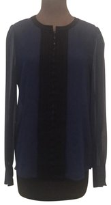 Diane von Furstenberg Button Down Shirt Blue Black