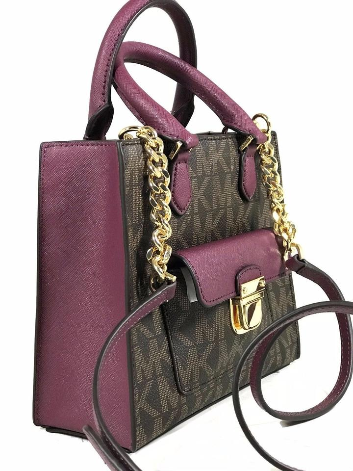 0f58d2601977 Michael Kors Bridgette East West Stud Signature Brown Plum Brown Plum Pvc  Tote