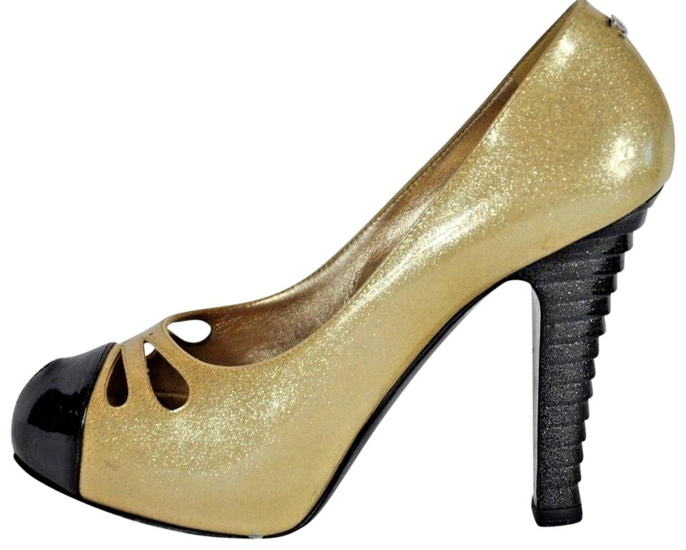 af378056420fa Chanel Gold Metallic Patent Leather Cap Pumps Size EU 38 (Approx. US ...
