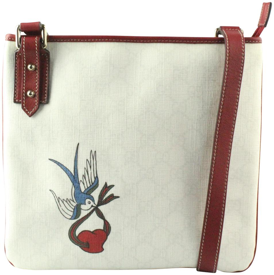 e9e25a3868a2 Gucci Messenger Heart Bird Tattoo White/Red Coated Canvas Cross Body ...