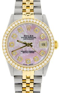 Rolex Womens Rolex Datejust 2-Tone 31mm Watch Pink MOP Diamond Dial & Bezel