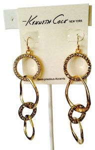 Kenneth Cole NWT 4 Link Circle & Wave Gold-Tone With Crystal Dangle Earrings