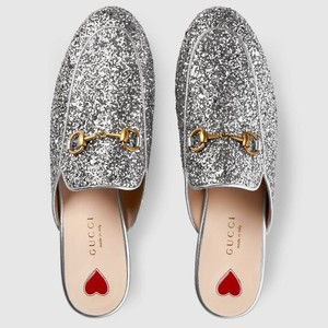 Gucci Princetown Slipper Loafer Silver Mules