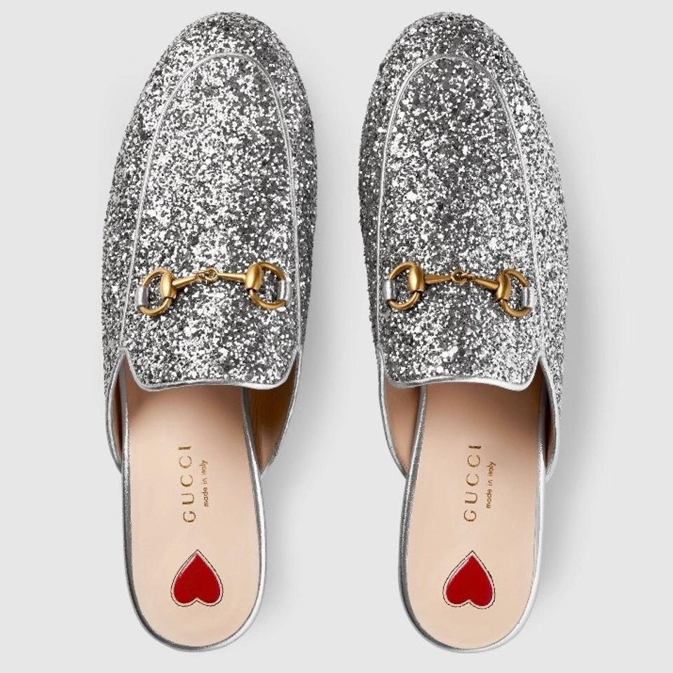 f8eeef152df Gucci Silver Princetown Glitter Princetown Loafer Mules Slides. Size  EU 39  ...